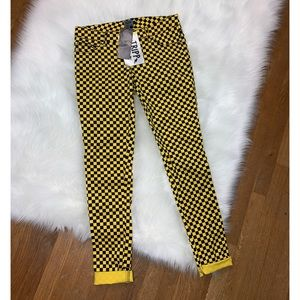 Tripp NYC yellow checkered pants NWT